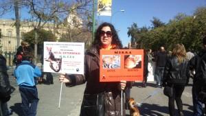 La autora en una manifestación contra el abandono y el maltrato animal.